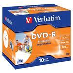 DVD-r Media 4.7GB 16x Branded Wide Photo Printable 10-pk With Jewel Case
