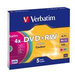DVD+rw Media 4.7GB 4x 5-pk Color With Slim Case